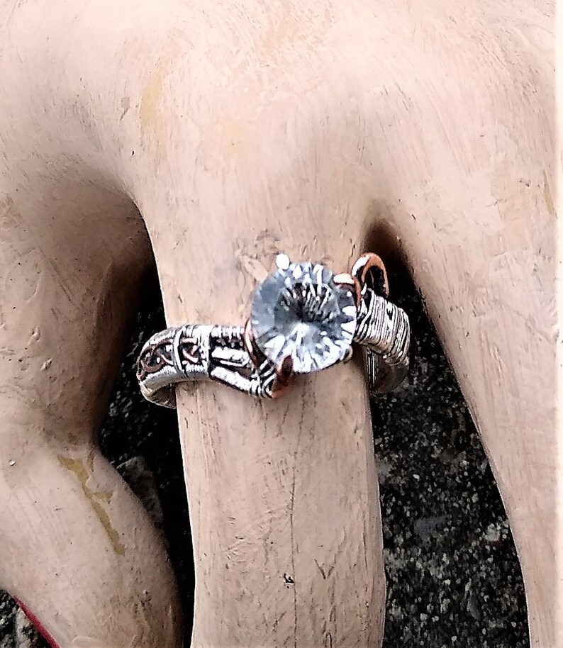 Sterling Silver Copper Wire Wrapped Natural White Quartz Cosplay Elven Elvish Wedding Engagement Ring by ArcAlchemistOne