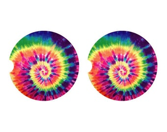4pc Colorful Tie Dye Fabric Drink Coaster Gift Set