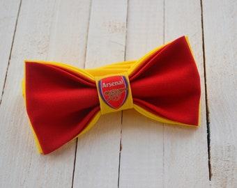 Liverpool Arsenal Sunderland Stoke Red White Striped Silk Wedding Bow Tie Set