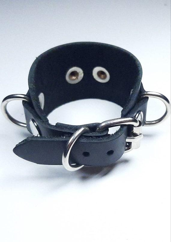 Leather Studded Bondage Cuff w Bondage Ring Suede Lining Punk Stud Bracelet Goth Gothic Industrial BDSM S/&M Gear D-Ring Kink Restraint