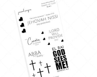 Names of God - Scriptures - Cross - Heart - Bible Inspiration - Happy Planner - Stickers