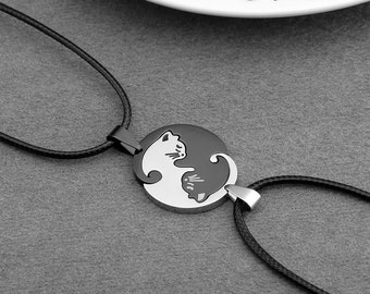 31eb2754c8 Personalized Couple Necklaces,Stainless Steel Yin Yang Pet Matching Cute  Cat Puzzle Pendant Leather Cord Rope Necklace,Anniversary Gift