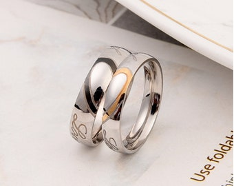 320768dc4c Personalized Couple Rings,Wedding Bands, Matching Rings Set,Promise Rings,Wedding  Rings, Anniversary Rings, Love Heart Rings,Men Rings