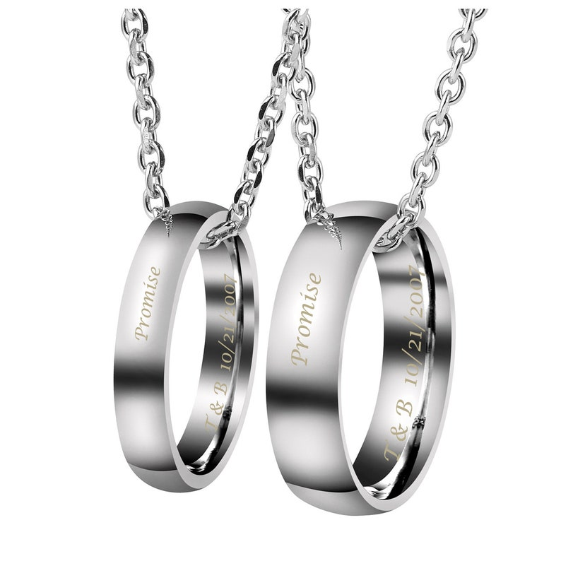 Personalized Ring Necklace,Engraved Ring Necklace,Russian ring Necklace,Circle Necklace,Couple Necklace Set,Name Necklace Set,Name Necklace