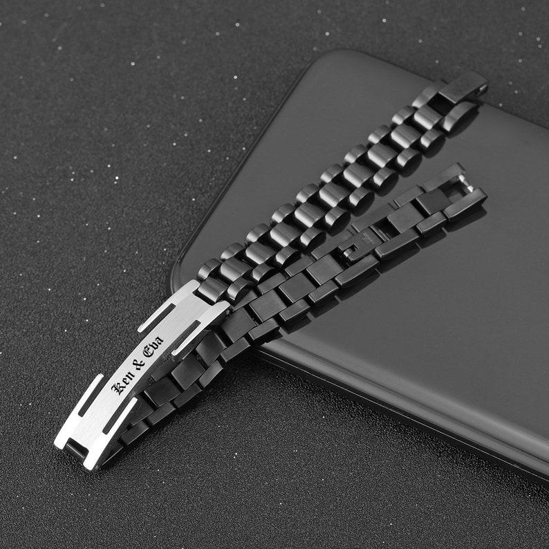 Black Medical Alert ID Bracelet,Personalized Medic Alert Bracelet,Allergies Alert ID Bracelet,Diabetes Bracelet,Autism Bracelet