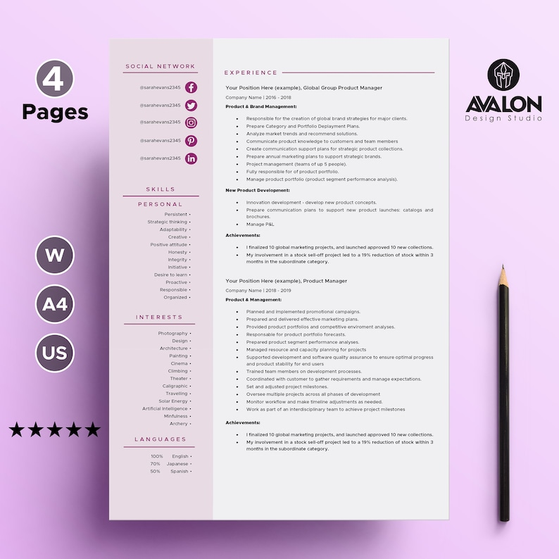 Resume template for MS Word Creative Resume Instant Download Free Cover Letter Professional CV Template Fully Editable   4 page