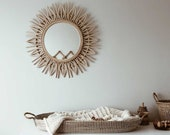 Rattan mirror, sunburst mirror, round mirror, room mirror, large mirror, wicker mirror, mirror,