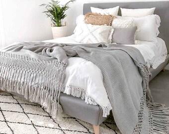 Long Tassel Throw Blanket Grey, Pom Pom Throw Blanket, Large blanket, large tassel blanket, handmade throw, tassel throw, king size blanket