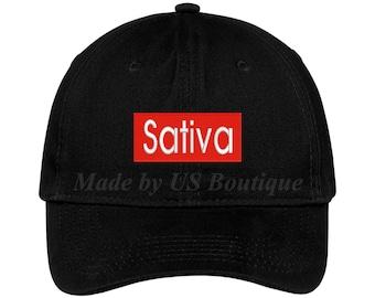 ce8135abb35 Sativa Embroidered Cap Dad Hat Baseball Cap - The Chronic Bud Marijuana  Leaf Pot Blunt 420 Weed Hat Cap Adult White Snoop Dogg