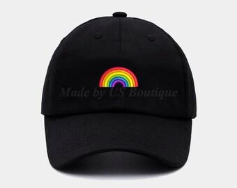 624889c7e32 Rainbow Embroidered Baseball Dad Cap Unisex Gay Pride Hat