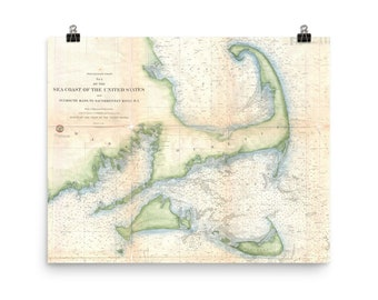 Cape cod map   Etsy