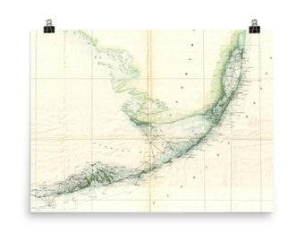 Map Of Florida And Florida Keys.Florida Keys Map Etsy