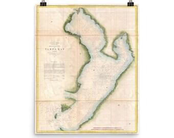 Tampa Florida On Map.Tampa Fl Vintage Map Etsy