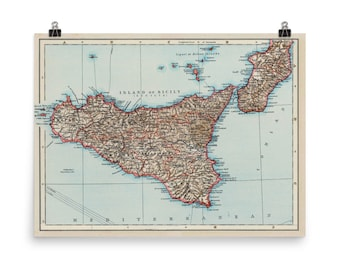 Antique sicily map | Etsy