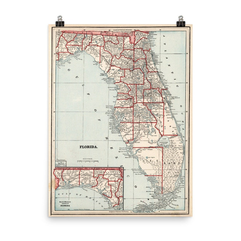 Florida By County Map.Old Florida Counties Map 1893 Vintage Fl County Atlas Poster