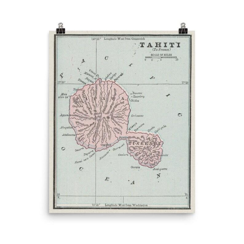 Old Tahiti Map (1901) Vintage Otaheite Atlas Poster on vintage map of southeast asia, vintage map of costa rica, vintage map of caribbean,