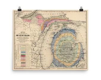 Vintage Michigan Geology Map (1873) Old MI Geological Atlas Poster