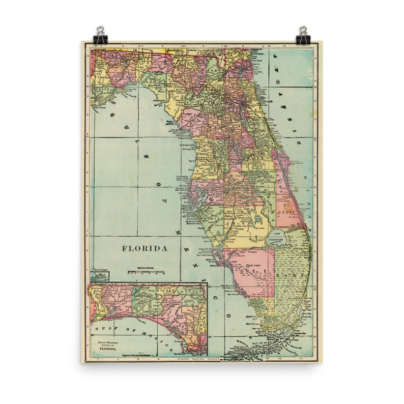 Vintage Florida Map (1909) FL Colorful Counties Atlas Poster on military map of florida, map of us 27 in florida, political state of florida, transportation of florida, full large map of florida, overhead view of florida, physical map landforms in florida, descriptive map of florida, satellite map of florida, 3 regions map of florida, geo of florida, physical geography of florida, geological map of florida, flag of florida, temperature map of florida, salt-dough map florida, electoral map of florida, climatic map of florida, flood map of florida, archaeological map of florida,