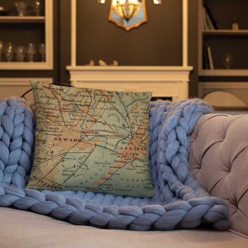 Surprising Old Jersey City And Newark Nj Map Pillow 1894 Vintage Nyc Suburbs Atlas Cushion Download Free Architecture Designs Scobabritishbridgeorg