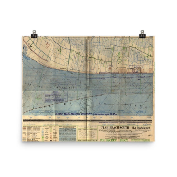 Utah Beach US Army Vintage Map (1944) Old D-Day and Operation Overlord  Invasion Atlas Poster