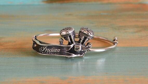 INDIAN CHIEF ENGINE Silver Sterling Bracelet