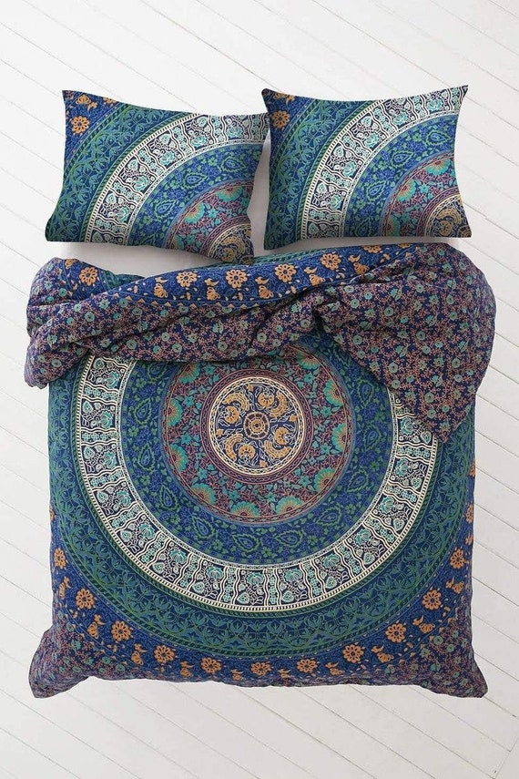 Indian Doona Mandala Hippie Bohemian Queen Quilt Two pillow Cover Duvet Blanket