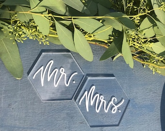 Hexagon Place Cards | Acrylic Place Cards | Acrylic Wedding Escort Cards | Wedding Table Decor