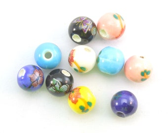 Porcelain Round Beads 10mm Purple 10 Pcs Pearlised Art Hobby Jewellery Making