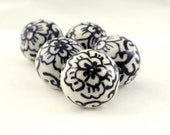 Hand Painted Porcelain Beads 5 pc, Large 25mm, Blue White Porcelain Beads, Chinoserie Beads, Ceramic Focal Beads, Round Floral Beads