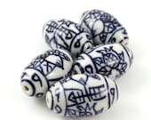 Hand Painted Porcelain Tube Beads 5 pc, 25mm x 14mm, Blue White Porcelain Beads, Chinoserie Beads, Oval Beads, Chinese Floral Beads