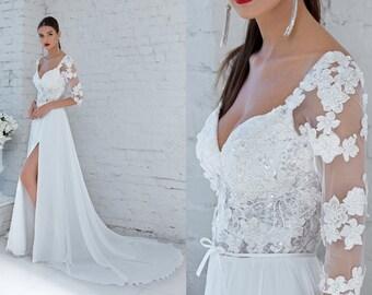 c3b2bc112f3b Sexy full length wedding dress with slit skirt