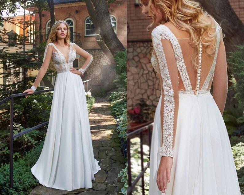 Romantic Bohemian Wedding Dresses.Lace Wedding Dress Delicate V Neck Bridal Gown Romantic Bohemian Bride Unique Guipure Wedding Dress Modern A Line Long Stylish Dress