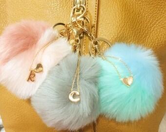 Personalized pom pom keychain Faux Fur key ring Handbag charm Furry puffs  bag charm Pom pom accessories keyring for women ea1901effe