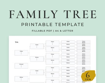 Ancestry Chart 6 Generations, Fillable Template
