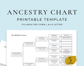 Family Tree 5 Generations, Fillable Chart Template