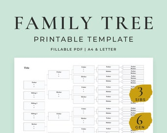 Family Tree Template, 6 Generations, 3 Siblings, Fillable Pedigree Chart Template