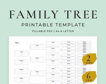 Family Tree Template, 6 Generations 2 Siblings