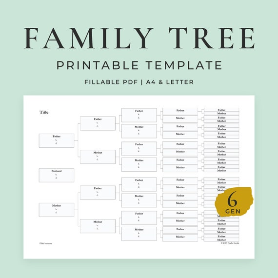 6 Generation Family Tree Template from i.etsystatic.com