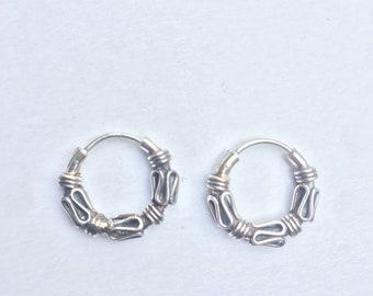 Large Chunky Bali Style Sterling 925 Silver 35mm Bead Hoop Sleeper Earrings