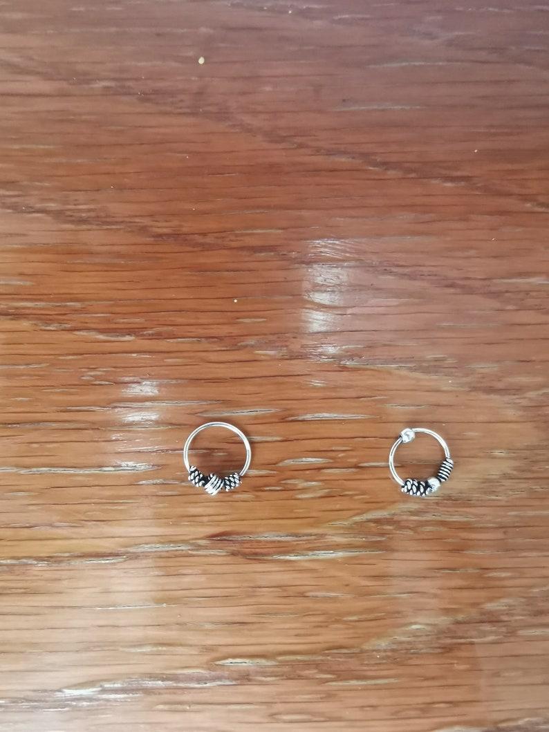 2 pieces 925  sterling Silver tribal dot septum ring pierced nose ring ethnic cartilage tragus boho j16 j17