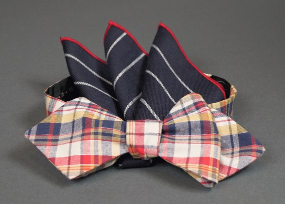 54093aa46935 Red/Blue Plaid Bow Tie & Pocket Square | Etsy