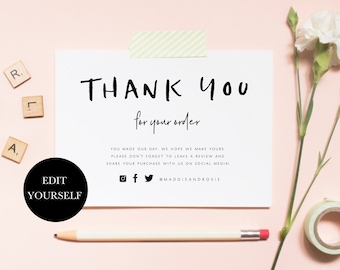 Business Thank You For Your Order Inserts Printable Etsy Shop Note Notes 110 001