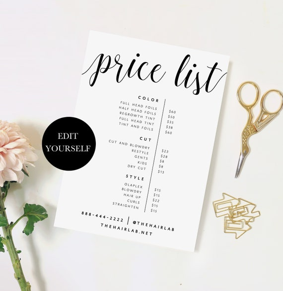 Business Price List Printable Price List Template Printable Etsy