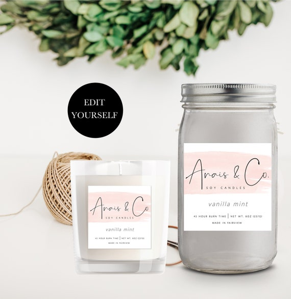 Printable Candle Label Template Pink Candle Labels Editable Product Label  Design Custom Label Design Jar Label Template Custom Label 108-003