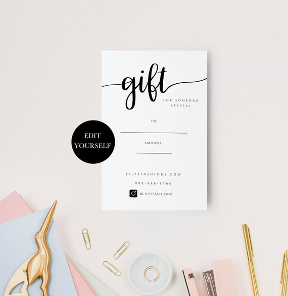 Printable Gift Voucher Printable Gift Certificate Download Gift Certificates 4x6 Etsy Gift Card Design Editable Gift Certificate 104 004