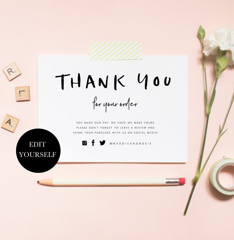 business thank you for your order inserts printable thank. Black Bedroom Furniture Sets. Home Design Ideas