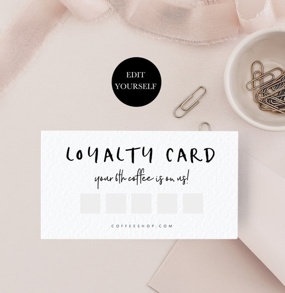 Customer Loyalty Card Editable Loyalty Cards Printable Loyalty Card Template Editable Reward Card Template Frequent Buyer Card Diy 110 003