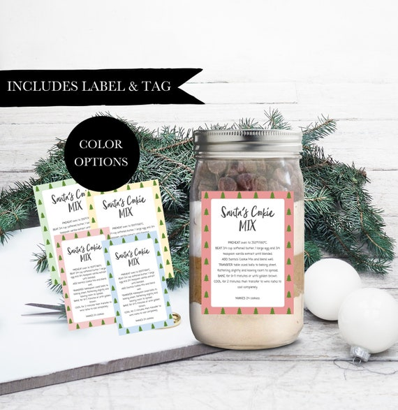 Printable Christmas Cookie Mix Label Mason Jar Cookie Mix Labels Cookie Jar Label Mason Jar Label Cookie Mix In A Jar Christmas 114-001
