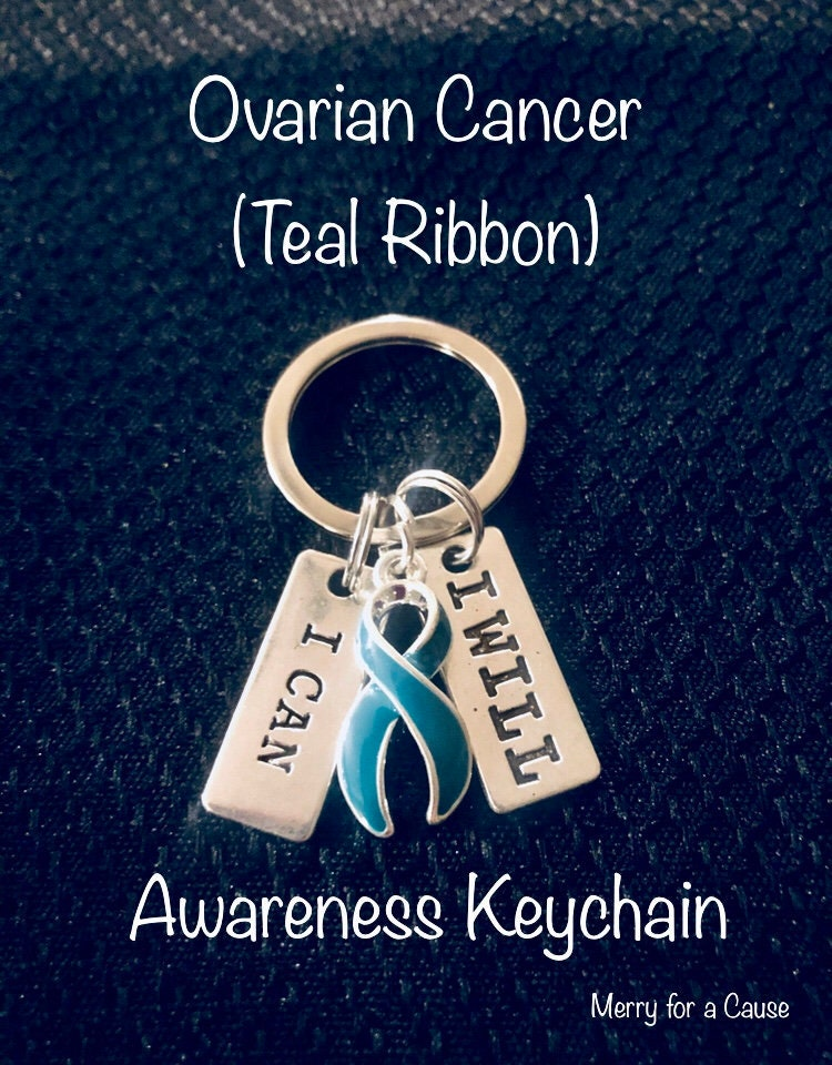 Ovarian Cancer Awareness Keychain by Hidden Hollow Comes in a Gift Box! Purse or Necklace Charm Cancer Awareness Key Chain Ring