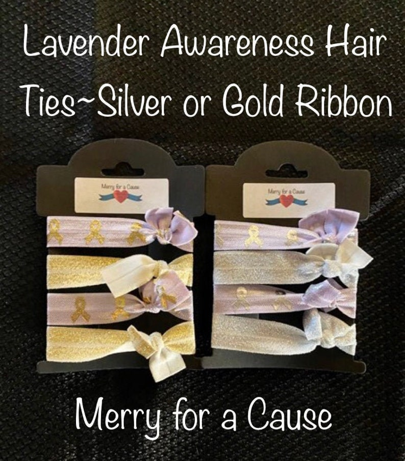 Lavender with Gold or Silver Cancer Awareness Hair Ties